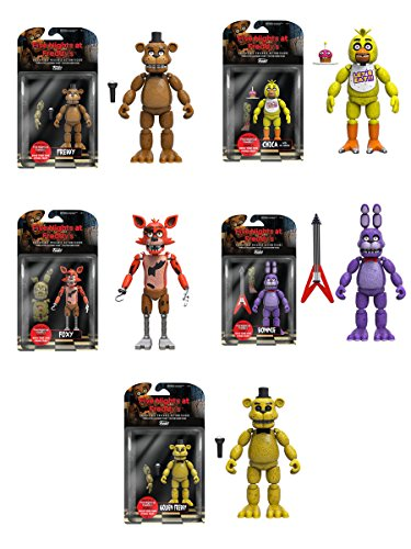 Five Nights at Freddy's 5' Freddy, Chica, Foxy, Bonnie, Gold Freddy Action Figures! Set of 5