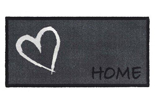 Fussmatte - Fußmatte - Teppich - Schmutzabstreifer - Sauberlaufmatte - Türfußmatte - Fußabstreifer - Fußabtreter - Türmatte - Motivfußmatte - Fußmatte - Schmutzfangmatte - Home - grau - Herz