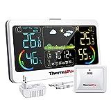 ThermoPro TP68 Termómetro inalámbrico para estación meteorológica interior con sensor exterior recargable Higrómetro digital Barómetro Monitoreo Estación de pronóstico Retroiluminación ajustable