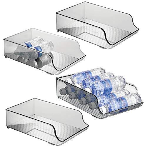 mDesign 4er-Set Flaschenregal – platzsparende Aufbewahrung für Weinflaschen, Wasserflaschen bzw. Trinkflaschen – Flaschenständer für Küchenschränke und Arbeitsplatten – rauchgrau