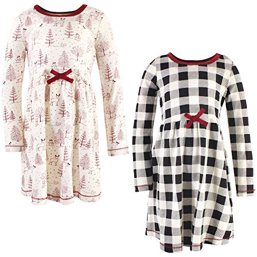 Touched by Nature Girls, Toddler, Baby and Womens Organic Cotton Short-Sleeve and Long-Sleeve Dresses, Winter Woodland Long Sleeve, 12-18 Months