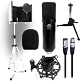 AxcessAbles SF-101Kit White Isolation Shield Stand Professional Cardioid Studio Condenser XLR Mic with Desktop Tripod Stand, Shock Mount and Pop Filter, Studio Recording & Broadcasting
