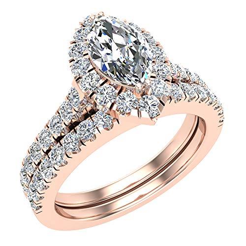 Glitz Design Unisex Niños Hombre Mujer oro 14 quilates (585) oro rosa marquise-shape round-brilliant-shape Diamond