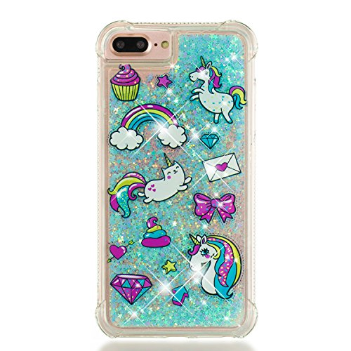 Wubaouk Cover iPhone 7 Plus/iPhone 8 Plus Liquid Glitter Case Quicksand Clear Soft Silicone TPU Gel Cover Ultra Thin Case Rainbow Unicorn Shockproof Bumper Protective Women Phone Cases