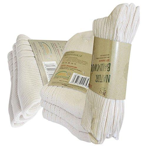 Ges&heitsstrumpf 6 Paar Natur 100prozent Baumwolle Socken ohne Naht Kochfest, Extra dick (35-38)