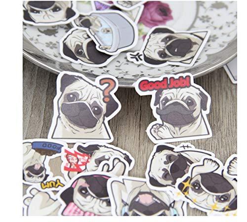 160 Stks Pug Expressie Papier Sticker Decal Voor Telefoon Auto Case Waterdichte Laptop Kids Speelgoed Stickers