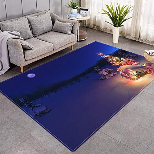 DRTWE Alfombra de terciopelo suave, para Navidad, nieve, paisaje, para sala de estar, dormitorio, antideslizante, cálida, para yoga, meditación, para niños, 50 x 80 cm