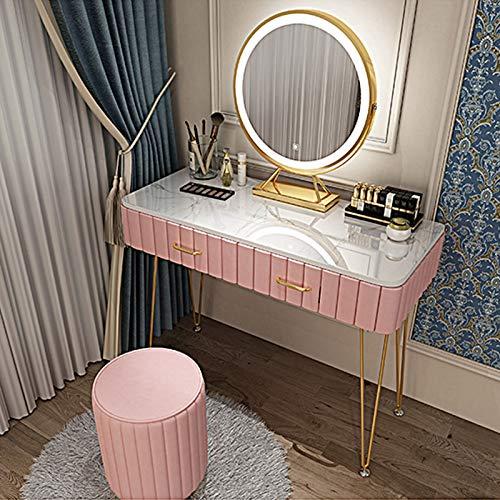 Schlafzimmer Schminktische mit 2 Schubladen & Schminktisch Hocker LED Lichter Spiegel für Mädchen Ankleideraum Make-up Tisch Set, Pink/Grau