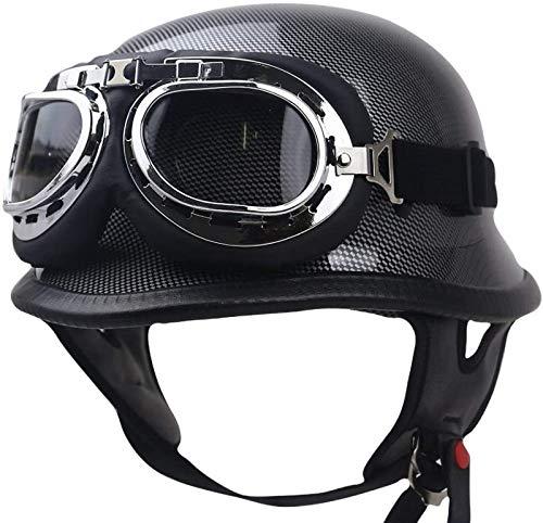EBAYIN Cascos Half-Helmet Cascos Abiertos Brain - Cap Retro Harley Casco Motocicleta ECE Certificado Cruiser Chopper Scooter Piloto Jet Casco Seguridad para Adultos Universal,B-L=(59~60cm)