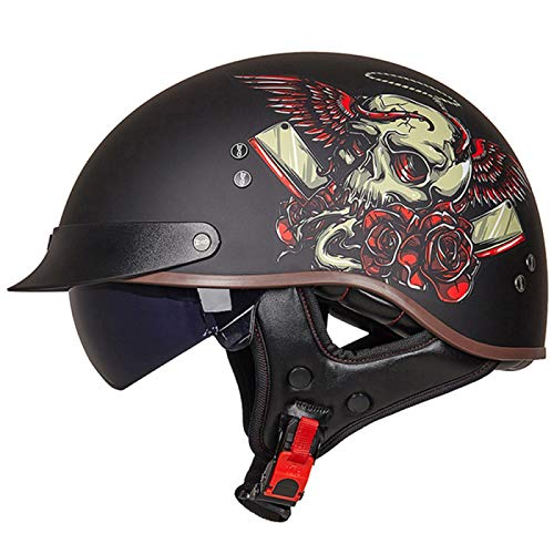 EBAYIN Cascos Half-Helmet Cascos Abiertos Brain - Cap Medio Casco de Motocicleta Parasol Correa Liberación Rápida Ajuste Media Cara para Scooter Crucero Harley Dot ECE Aprobado,I-M=(57~58cm)