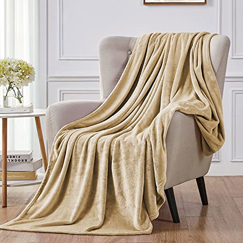 """Walensee Fleece Blanket Plush Throw Fuzzy Lightweight (Throw Size 50""""x60"""" Camel) Super Soft Microfiber Flannel Blankets for Couch, Bed, Sofa Ultra Luxurious Warm and Cozy for All Seasons"""