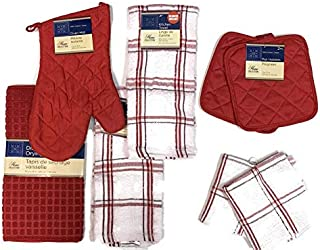 Home Collection Red & White Kitchen Linen Bundle Package Oven Mitt (1) Pot Holders (2) Kitchen Towels (2) Dish Towels (2) Drying Mat (1)