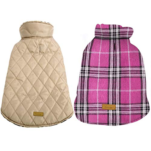 Kuoser Dog Coats Dog Jackets Waterproof Coats for Dogs Windproof Cold Weather Coats Small Medium Large Dog Clothes Reversible British Style Plaid Dog Sweaters Pets Apparel Winter Vest for Dog Pink XL