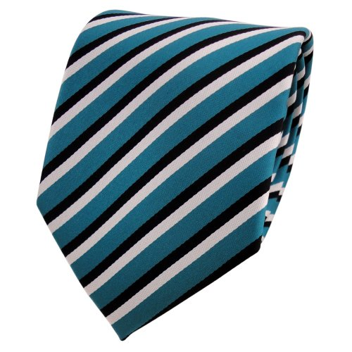 TigerTie - Corbata - turquesa agua azul negro blanco rayas
