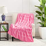Bedsure Healing Thoughts Throw Blanket - Super Soft Flannel Fleece Blanket with Inspirational Positive Energy Healing Thoughts - Perfect Caring Gift for Women, Men and Cancer Patients (Pink)