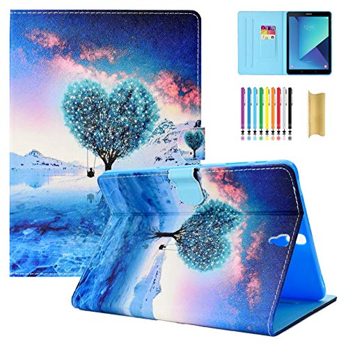Dteck Samsung Galaxy Tab S3 9.7 Case - PU Leather Wallet Stand Folio Flip Smart Protective Case with Auto Sleep/Wake for Samsung Galaxy Tab S3 9.7 Inch 2017 Tablet (SM-T820/T825/T827),Wishing Tree