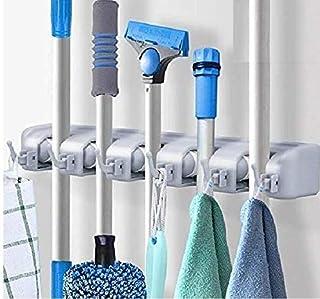 SKYFUN (LABEL) Wall Mounted Hanger Plastic Magic Broom & Mop Holder Rack Stand Organizer(5 Slots, 6 Hooks,Plastic)