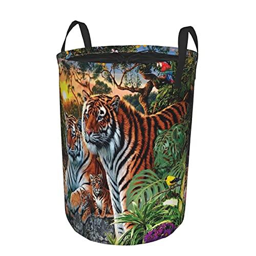 Cesta de almacenamiento, pintura de tigre en busca de imágenes, cesto de lavandería grande plegable con asas 19'x14'