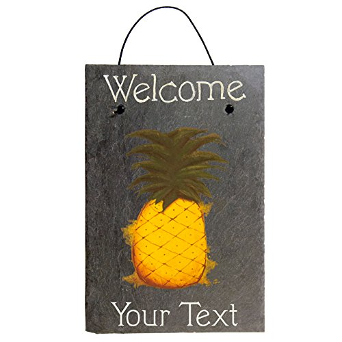 Cohas Personalized Welcome Pineapple Sign on 8 by 12 inch Slate Board with Hand-Painted Melina Pineapple and Custom Text