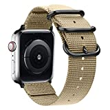 Misker Nylon Band Compatible with Apple Watch Band 44mm 42mm 40mm 38mm, Lightweight Breathable Sport Wrist Strap with Metal Buckle Compatible with iwatch Series 5/4/3/2/1 (Khaki, 42mm/44mm)
