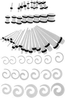 IPOTCH 54 Pcs Ear Stretcher Gauges Kit Black/White Spiral & Plugs 14G-00G Jewelry