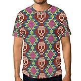Camiseta de manga corta para hombre, diseño de calavera, étnica y geometría mexicana Multicolor multicolor 3XL