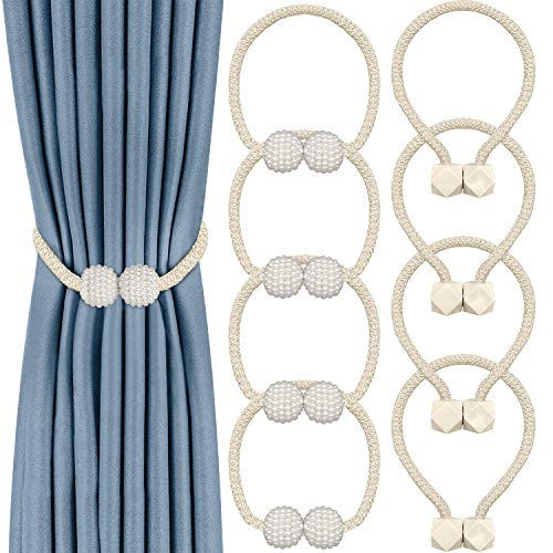 8 Pack Magnetic Curtain Tiebacks,Convenient Drape Tie Backs Decorative Curtain Holdbacks Holder Curtain Tiebacks for Window Draperies, No Tools Required- Square and Pearl Shape(Beige)
