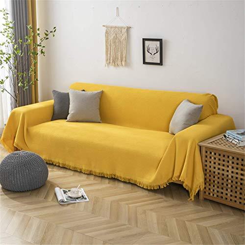 GAOZHEN Toalla de sofá Universal Four Seasons de Color sólido, Funda de sofá de Funda Completa Tejida de algodón, Funda de sofá Gruesa integrada Moderna y Simple