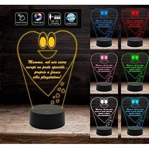 FESTA DELLA MAMMA Regalo compleanno onomastico lampada a led con 7 colori selezionabili cuore frase personalizzata