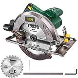 TECCPO Professional Scie Circulaire Électrique 1200W 5800 tr/min, Avec 24T Lame de Φ185mm, Profondeur de Coupe 63mm (90 °), 45mm (45 °) - TACS22P