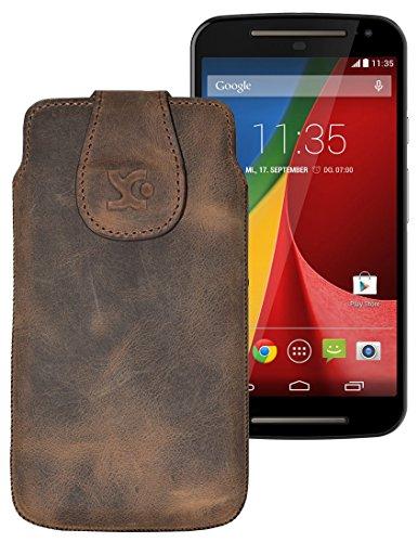 Original Suncase Tasche für / Motorola Moto X 2014 (2. Generation) / Leder Etui Handytasche Ledertasche Schutzhülle Hülle Hülle / in antik-braun