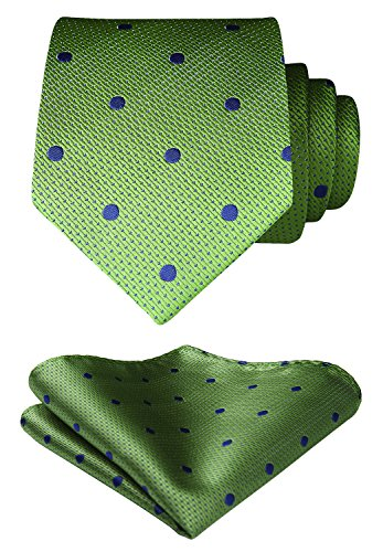 HISDERN Men's Polka Dot Tie Handkerchief Wedding Party Necktie & Pocket Square Set Chartreuse