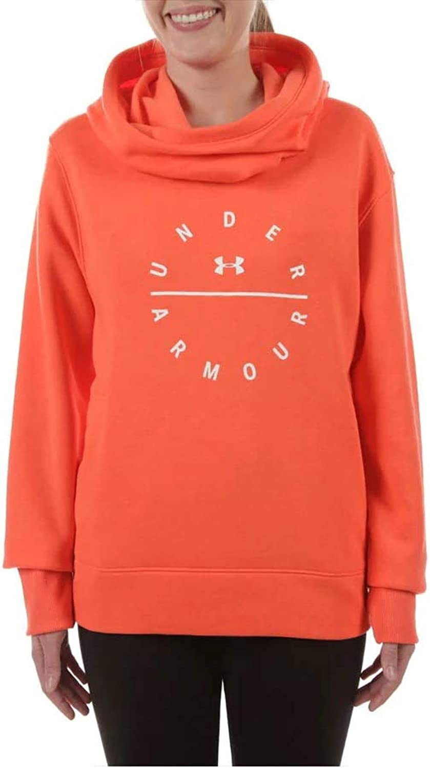 Under Armour Women's Rival Funnel Neck Graphic Hoodie Orange