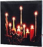 infactory LED Wandbild: LED-Leinwandbild Advent mit Kerzenflackern (Kerzenbild)