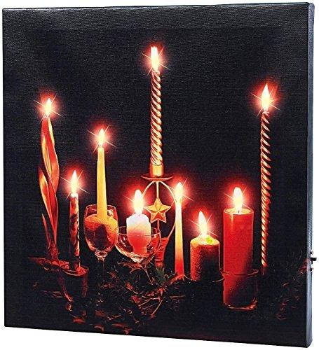 infactory LED Wandbild: LED-Leinwandbild Advent mit Kerzenflackern (Weihnachtliche Wandbilder)