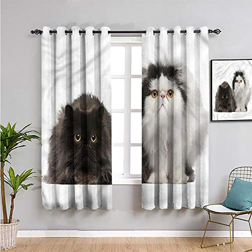 VICWOWONE kitten Premium Blackout Curtains, Curtains 84 inch length persian cat pair purebred Protective furniture W108 x L84 Inch