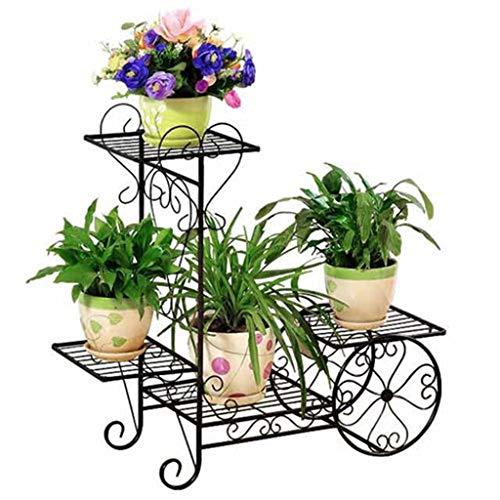 Slow Time Shop Estante for Plantas de Metal de 4 Niveles Carrito de jardín Bastidor de Flores Soporte for Maceta Bonsai con estantes de exhibición for el hogar, jardín, Patio (Color : Black)