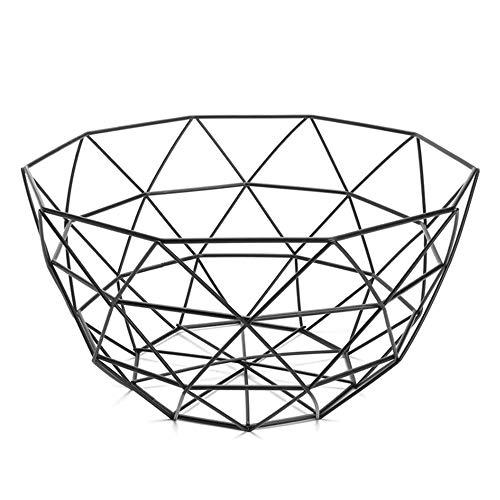 QUVIO Fruitschaal van metaal/Draad fruitmand diamantvorm/Diameter 25 cm - Zwart
