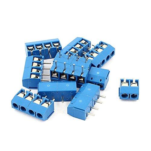 Preisvergleich Produktbild sourcingmap® 10 Stück AC 300V 10A 4 Stifte PCB Klemmenblock Stecker 5, 0mm Pitch blau de