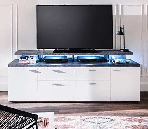 trendteam Wohnzimmer Lowboard Fernsehschrank Fernsehtisch Mood Media, 180 x 66 x 47 cm in Front Weiß Melamin, Korpus Melamin Stone dunkel mit viel Stauraum