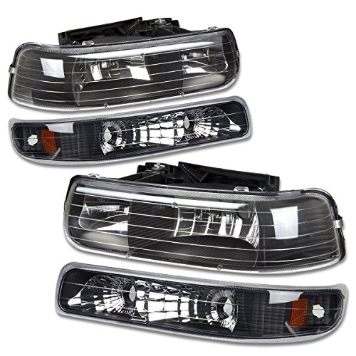 DNA Motoring HL-OH-CS99-4P-BK-AB Black Amber Headlights Replacement For 99-06 SIlverado Suburban Tahoe