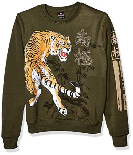 Southpole Men's Fleece Crewneck Sweatshirt, Olive Tiger, Large