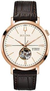Bulova - para Hombre Reloj automtico de Acero Inoxidable de Color Rosa Correa de Cuero 97a136