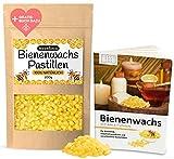 Natürliche Bienenwachs Pastillen zur Herstellung von Naturkosmetik, Kerzen und Bienenwachstücher für Lebensmittel • 200g goldgelbe Bienenwachsperlen in PREMIUMQUALITÄT