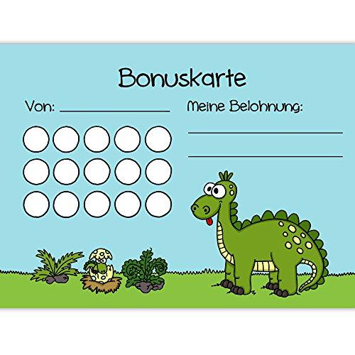5X Bonuskarten Dino DIN A6 Belohnungssystem Kinder für Jungen Mädchen Punkte sammeln Belohnungstafel Fleißkärtchen Fleißkarte Töpfchentraining Hausaufgaben Hausarbeit Stempelkarte Punktekarte
