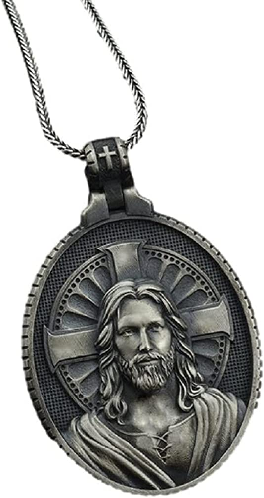 Jesus Necklace for Men, Christian Jesus Head Pendant Necklace Jesus Cross Necklace Pure Tin Men's Punk Jesus Head Face Charm Necklace Jewelry Gift Father's Day Accessories