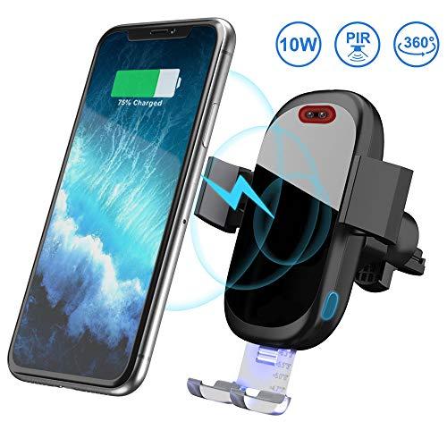 Wireless Charger Auto, Qi Ladestation Auto Infrarot Induktion KFZ Handyhalter 7,5W/10W Fast Charging für iPhone 11 Pro Max/Xs Max/Xr/X/8 8Plus, Galaxy S9 S8 S7 S6, Note 5/8/9, Schwarz