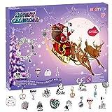 Calendario de Adviento Niñas 2020 Calendario de Cuenta Regresiva Pulsera Niñas DIY Regalo para Niñas Mujeres(22 Cuentas y 2 Cadenas Plata) (Violeta)