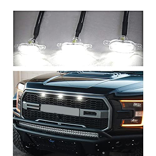 3PCS White LED Grille Running Lamps, Front Bumper Hood Grille White LED Lighting for 2004-2014 & 2014-up Ford F150/F250 Raptor (Grille Not Included)