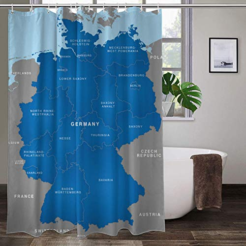 Deutschland Karte Duschvorhang Mold Proof Resistent mit 12 Hakens 100prozent Polyester Wasserdichter Waschbare,72x84inch